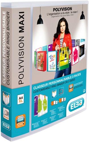 Presentatieringband Oxford Polyvision Maxi A4 XL 4-rings D-mech 25mm transparant