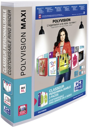 Presentatieringband Oxford Polyvision Maxi A4 XL 4-rings D-mech 40mm transparant