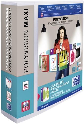 Presentatieringband Oxford  Polyvision Maxi A4 XL 4-rings D-mech 50mm transparant