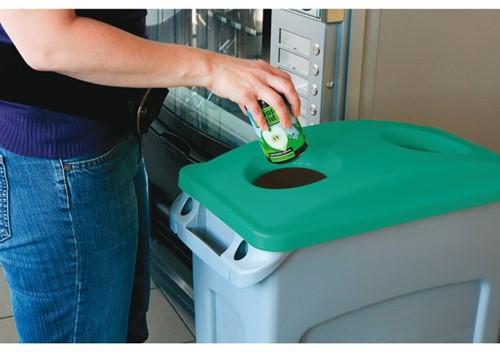 Afvalbakdeksel slim jim groen voor flessen-2