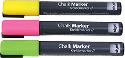 Krijtmarker Sigel whiteboard fluor roze/geel/groen 1-5mm