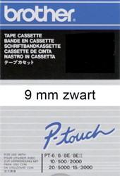 Labeltape Brother P-touch TC291 9mm zwart op wit