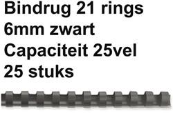 Bindrug Fellowes 6mm 21rings A4 zwart 25stuks