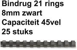 Bindrug Fellowes 8mm 21rings A4 zwart 25stuks