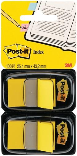 Indextabs 3M Post-it 680 25.4x43.2mm duopack geel