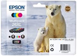 Inkcartridge Epson 26XL T2636 zwart + 3 kleuren HC