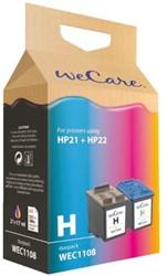 Inkcartridge Wecare  HP C9351CE C9352CE zwart + kleur