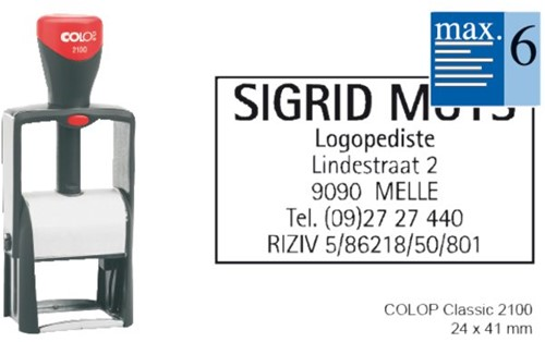 Tekststempel Colop 2100 +bon 6regels 41x24mm
