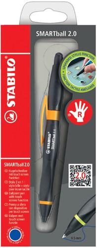 Balpen STABILO Smartball rechtshandig zwart/oranje blister