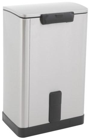 Afvalbak pedaalemmer RVS mat rechthoekig 40liter-2
