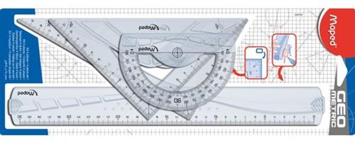 Tekenset Maped 4delig 300mm voor rechtshandigen transparant