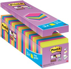 Memoblok 3M Post-it 654-P24 Super Sticky 76x76mm 21+3 gratis
