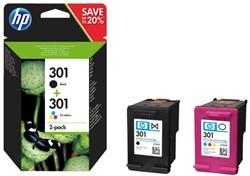 Inkcartridge HP 301 N9J72AE zwart + kleur