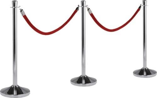 Afzetkoord Securit 150cm rood met chroome knop-1