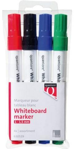 Whiteboardstift Quantore rond 1-1.5mm 4stuks assorti