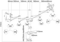 "monitorarm Newstar D1330D 2x10-27"" met klem zilvergrijs-3"
