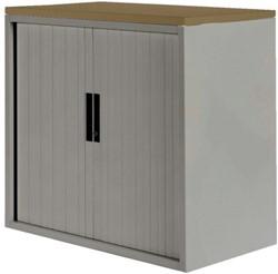Roldeurkast 20H aluminiumlook met topblad noten
