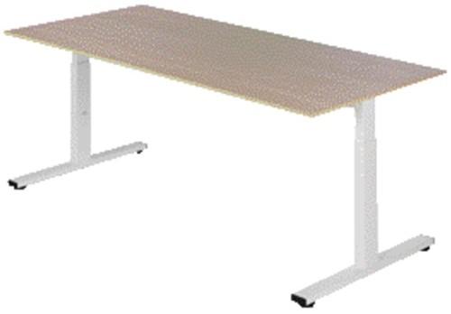 Bureau NPO Pro-Fit instelbaar 180x80cm wit frame eiken blad