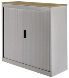 Roldeurkast 30H aluminiumlook met topblad noten