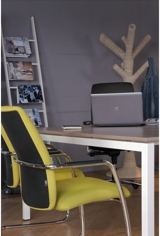 Bureau NPO Fyra instelbaar 160x80cm wit frame noten blad