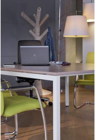 Bureau NPO Fyra vaste hoogte 200x100cm wit frame noten blad-3