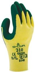 Handschoen Showa 310 grip latex groen/geel extra large