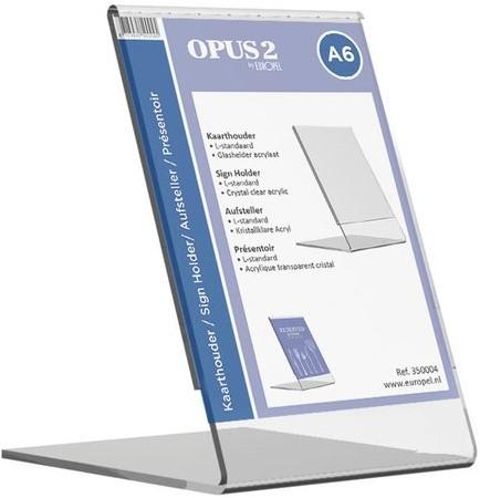 Kaarthouder OPUS 2 L-standaard A6 staand acryl