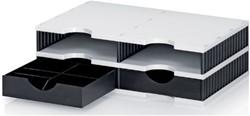 Vakkenset Styrodoc A4 4 vaks zwart/grijs