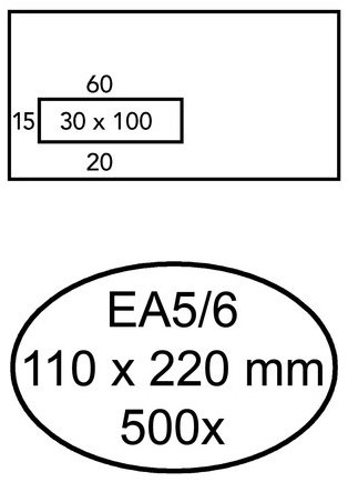 Envelop Hermes EA5/6 110x220mm venster 3x10links zelfkl 500