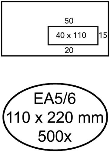Envelop Hermes EA5/6 110x220mm venster 4x11rechts zelfkl 500