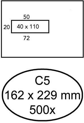 Envelop Quantore 162x229mm venster 4x11cm links zelfkl 500st
