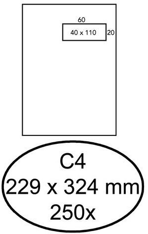 Envelop Quantore 229x324mm venster 4x11cm rechts 250stuks