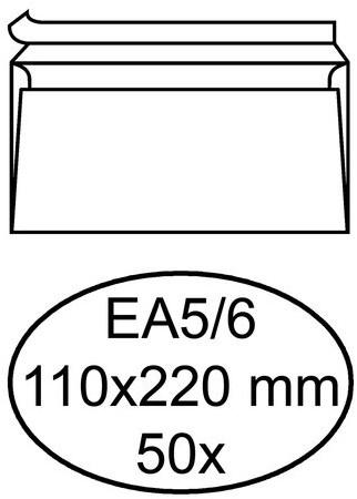 Envelop Hermes bank EA5/6 110x220mm zelfklevend wit 50stuks