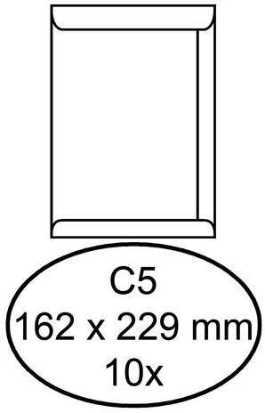 Envelop Hermes akte C5 162x229mm zelfklevend wit 10stuks