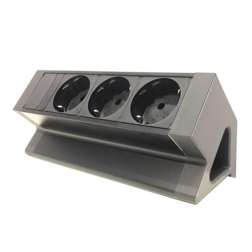 Bureau opbouw stekkerdoos met 3 stopcontacten zwart